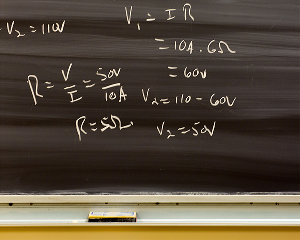 Formulas on a blackboard.
